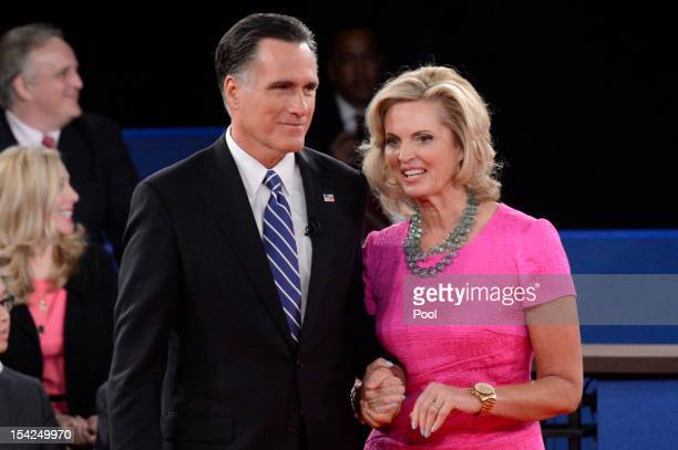 Republican presidential candidate Mitt Romney and wife Ann Romney stand on stage after a town hall style debate at Hofstra University October 16 2012...