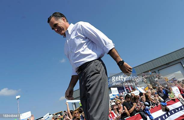 US Republican presidential candidate Mitt Romney arrives at a campaign event on October 5 2012 in Abingdon Virginia Fresh from a muchneeded debate...