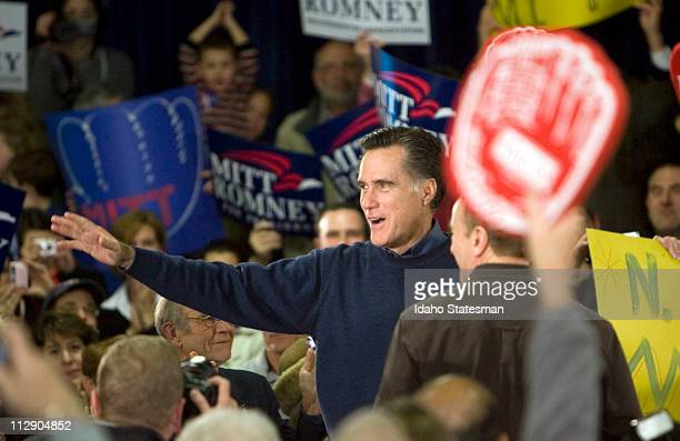 Republican presidential candidate Mitt Romney conducts one of his Ask Mitt Anything town meetings at McKelvie Middle School in Bedford New Hampshire...