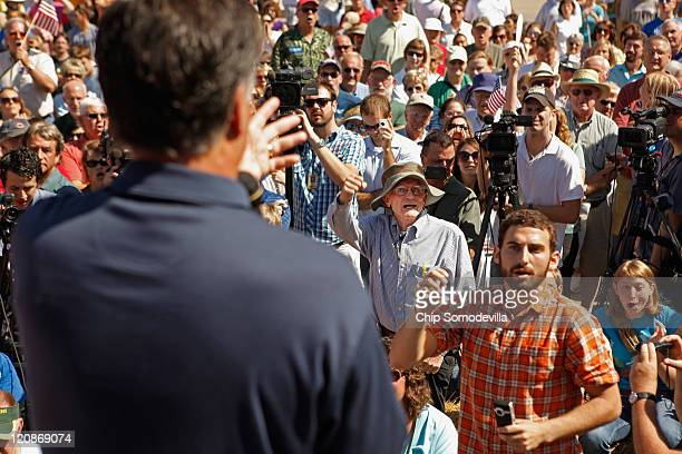 Republican presidential candidate Mitt Romney engaged in a heated exchange with a fairgoer about Social Security during Romney's time on the Des...