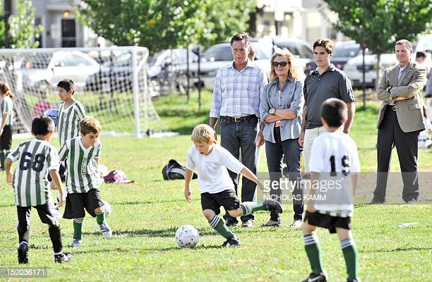 Republican presidential candidate Mitt Romney , his wife Ann and son Tagg watch one of Tagg's son play soccer in Belmont, Massachusetts, on September...