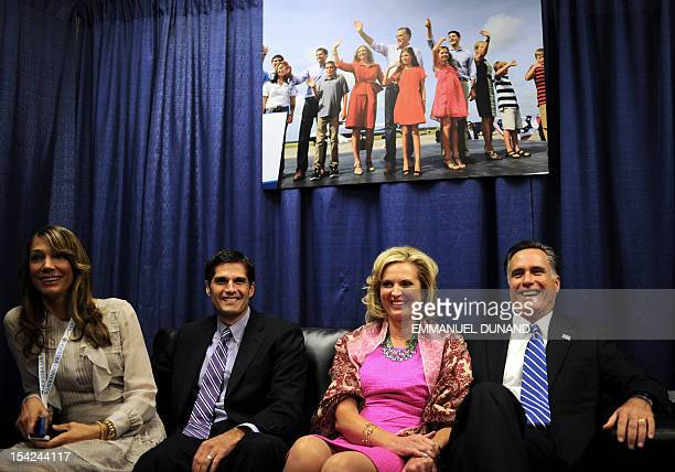 Republican Presidential candidate Mitt Romney his wife Ann his son Matt and Matt's wife Laurie await in a holding room the start of the second...