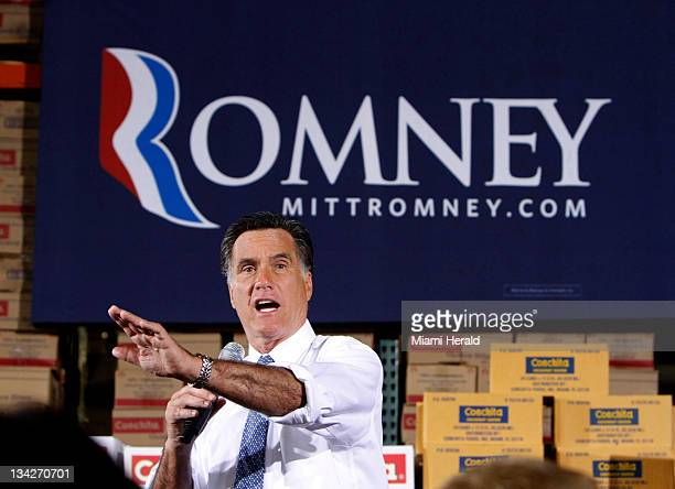 Republican presidential candidate Mitt Romney makes a campaign appearance at Conchita Foods in Medley Florida Tuesday morning November 29 2011