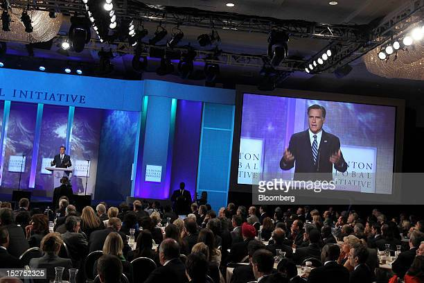 Republican presidential candidate Mitt Romney speaks at the annual meeting of the Clinton Global Initiative in New York US on Tuesday Sept 25 2012...