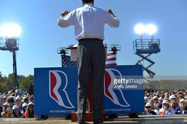 US Republican presidential candidate Mitt Romney speaks during a campaign event on October 5 2012 in Abingdon Virginia Fresh from a muchneeded debate...