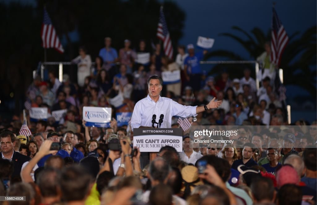 US Republican presidential candidate Mitt Romney speaks during a campaign event on October 5, 2012 in St. Petersburg, Florida. Fresh from a much-needed debate victory, Republican challenger Mitt Romney said his earlier remarks dismissing 47 percent of Americans as government dependents were 'completely wrong.' The admission came amid a campaign reset that shocked Democrat Barack Obama at Wednesday's debate, in which his invigorated rival for the White House vowed to fight for middle class families that Romney said were being 'crushed' by the president's policies.