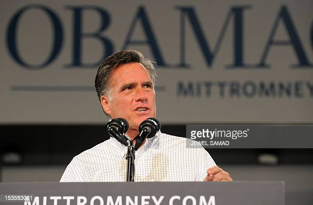 US Republican presidential candidate Mitt Romney speaks during a campaign rally on October 6 2012 in Apopka Florida A relieved US President Barack...