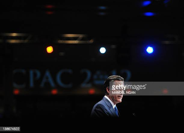 Republican presidential candidate Mitt Romney speaks during an address to the 39th Conservative Political Action Committee February 10 2012 in...