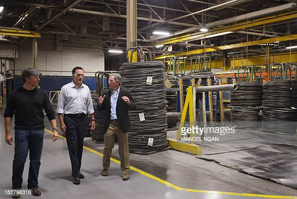 Republican presidential candidate Mitt Romney tours American Spring Wire with American Spring Wire President CEO Timothy Selhorst and Mike Rowe TV...