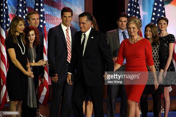 Republican presidential candidate Mitt Romney wife Ann Romney and family walk off of the stage after conceding the presidency during Mitt Romney's...