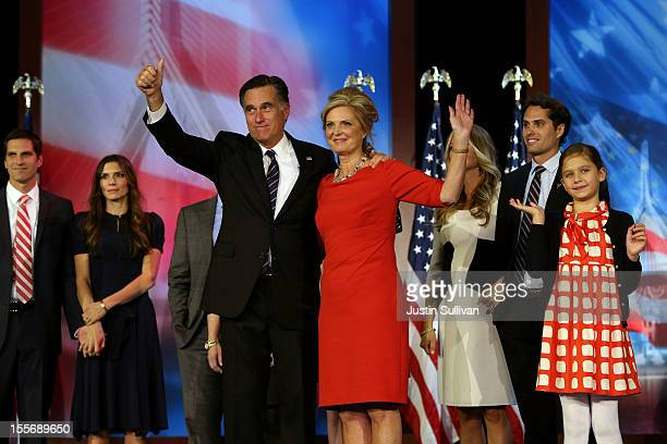 Republican presidential candidate, Mitt Romney, wife, Ann Romney, and family, wave to the crowd on stage after conceding the presidency during Mitt...