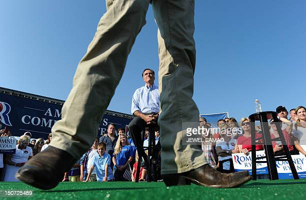 US Republican presidential candidate Mitt Romney's running mate Paul Ryan speaks during a campaign rally at the village green park in Powell Ohio on...