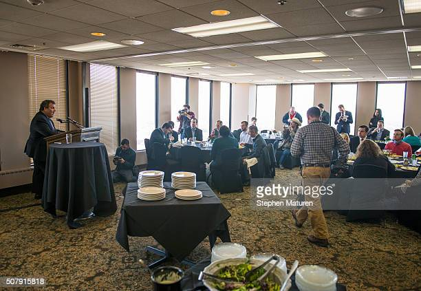 Republican presidential candidate New Jersey Gov Chris Christie speaks during a luncheon at the Bull Moose Club February 1 2016 in downtown Des...
