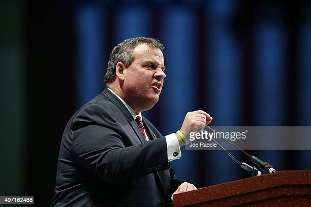 Republican presidential candidate New Jersey Governor Chris Christie speaks during the Sunshine Summit conference being held at the Rosen Shingle...