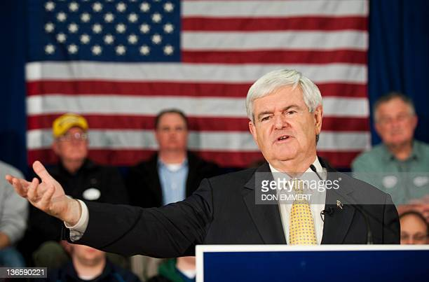 Republican presidential candidate Newt Gingrich addresses a town hall meeting at Pinkerton Academy January 8 2012 in Derry New Hampshire The New...