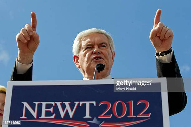 Republican presidential candidate Newt Gingrich during a rally at Wings Plus in Coral Springs, Florida, Wednesday, January 25, 2012.