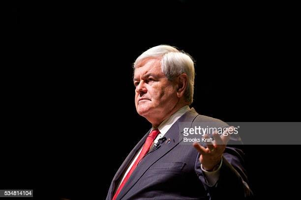 Republican presidential candidate Newt Gingrich holds a town hall meeting at Windham High School during a campaign trip in New Hampshire