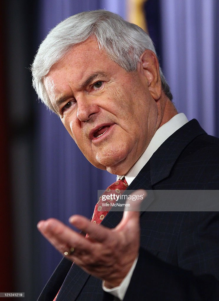 GOP Presidential Hopeful Newt Gingrich Speaks On Deficit Reduction At The Heritage Foundation