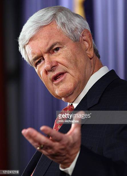 Republican presidential candidate Newt Gingrich speaks at the Heritage Foundation on the topic of A Better Approach to Deficit Reduction an...