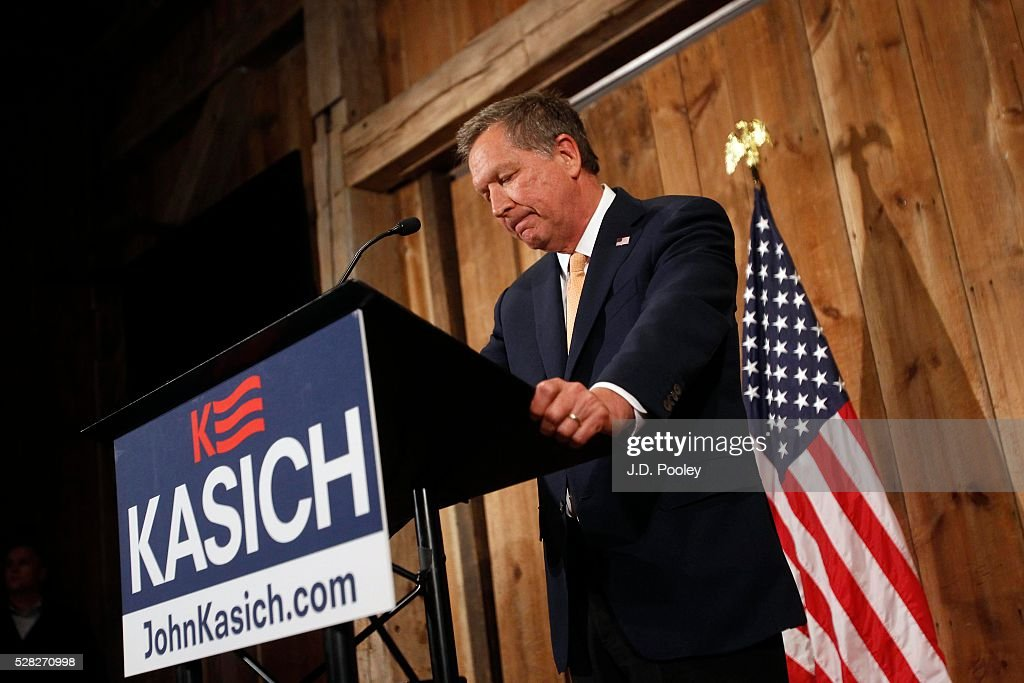 John Kasich Announces End Of His Presidential Campaign : News Photo