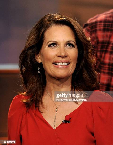 Republican presidential candidate Rep Michele Bachmann appears on the Tonight Show With Jay Leno at NBC Studios on September 16 2011 in Burbank...