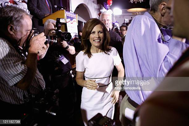 Republican presidential candidate Rep Michele Bachmann arrives at the Blackhawk County Republican annual Lincoln Day Dinner at the Electric Park...