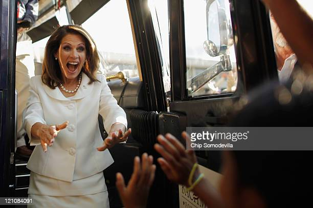 Republican presidential candidate Rep Michele Bachmann greets her supporters after winning the Iowa Straw Poll on the campus of Iowa State University...