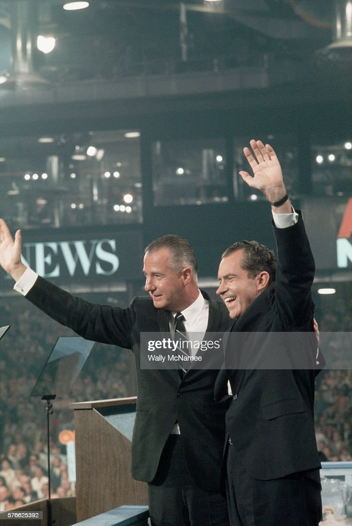 Republican presidential candidate Richard Nixon (right) and his running mate, vice presidential candidate Spiro Agnew, wave to the crowd at the 1968 Republican National Convention after accepting their party's nomination.