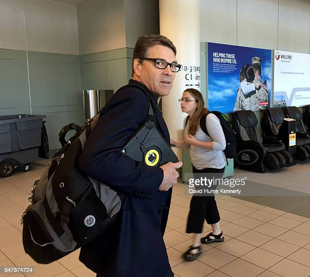 Republican Presidential Candidate Rick Perry arrives at Manchester-Boston Regional Airport in New Hampshire at the start of his Presidential election...