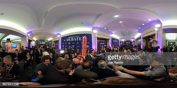 Republican Presidential candidate Rick Santorum visits the spin room after finishing his Republican Presidential debate sponsored by Fox News and...