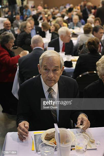 Republican Presidential Candidate Ron Paul attends the Iowa Faith Freedom Coalition Presidential Forum on October 22 2011 in Des Moines Iowa...