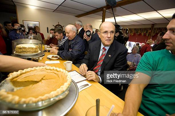 Republican presidential candidate Rudy Giuliani campaigns at the Golden Egg Restaurant in Portsmouth New Hampshire