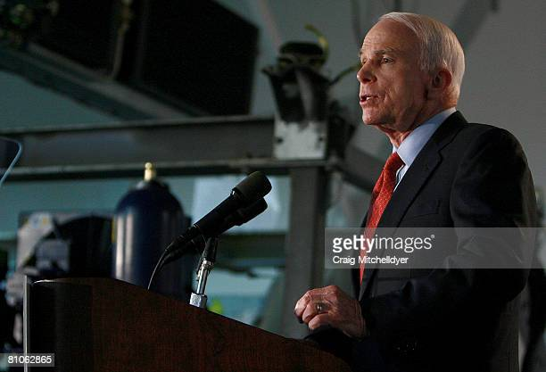 Republican presidential candidate Sen John McCain speaks at Vestas Training Facility May 12 2008 in Portland Oregon McCain delivered a speech...