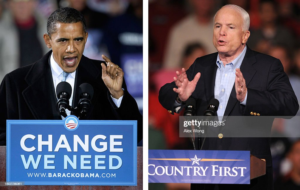 In this composite image a comparison has been made between former US Presidential Candidates Barack Obama (L) and John McCain. In 2008 Barack Obama won the presidential election to become the President of the United States. DAVENPORT, IA - OCTOBER 11: Republican presidential candidate Sen. John McCain (R-AZ) speaks to supporters at a campaign rally October 11, 2008 in Davenport, Iowa. McCain spoke to about 1,000 people at the rally.
