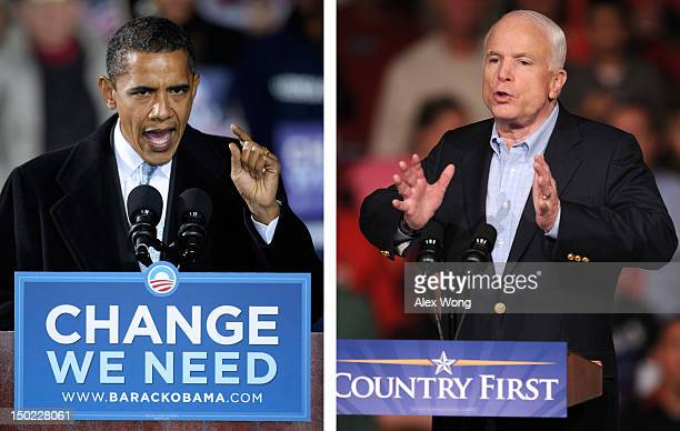 In this composite image a comparison has been made between former US Presidential Candidates Barack Obama and John McCain In 2008 Barack Obama won...