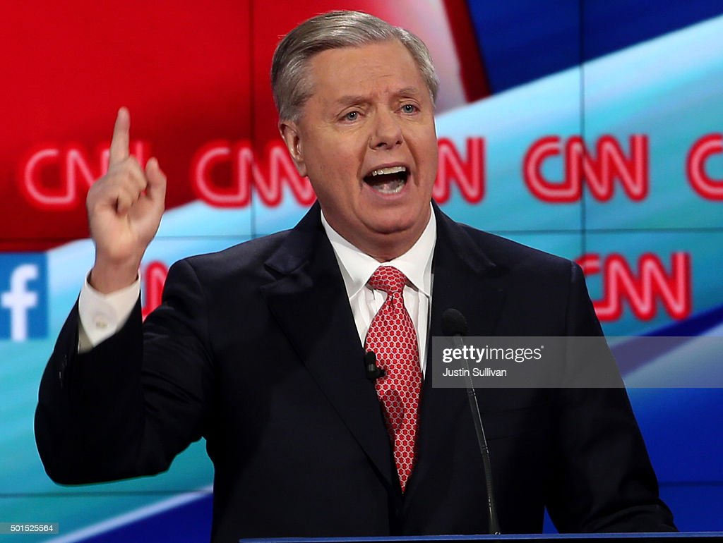 GOP Presidential Candidates Debate In Las Vegas : News Photo
