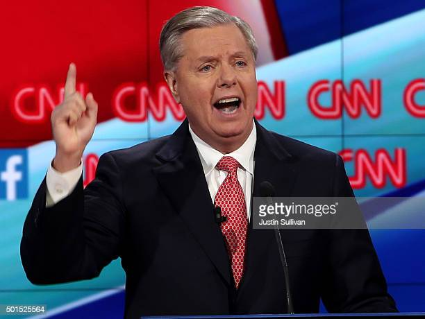 Republican presidential candidate Sen Lindsey Graham speaks during the CNN republican presidential debate at The Venetian Las Vegas on December 15...