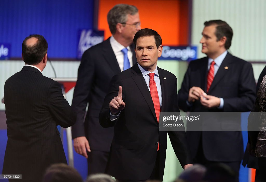 Republican presidential candidate Sen. Marco Rubio (R-FL) gestures after the Fox News - Google GOP Debate January 28, 2016 at the Iowa Events Center in Des Moines, Iowa. Residents of Iowa will vote for the Republican nominee at the caucuses on February 1. Donald Trump, who is leading most polls in the state, decided not to participate in the debate.