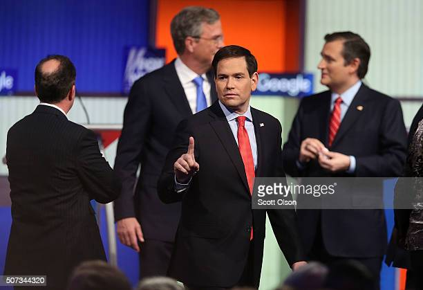 Republican presidential candidate Sen Marco Rubio gestures after the Fox News Google GOP Debate January 28 2016 at the Iowa Events Center in Des...