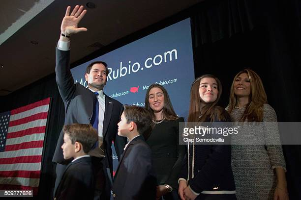 Republican presidential candidate Sen Marco Rubio his wife Jeanett Rubio and their children take the stage during a primary election night party at...