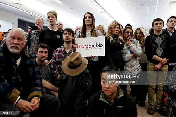 Republican presidential candidate Sen Marco Rubio holds a town hall meeting in the Londonderry High School cafeteria February 7 2016 in Londonderry...