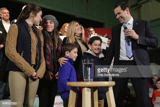 Republican presidential candidate Sen Marco Rubio introduces his family daughters Daniella and Amanda sons Dominick and Anthony and his wife Jeanette...
