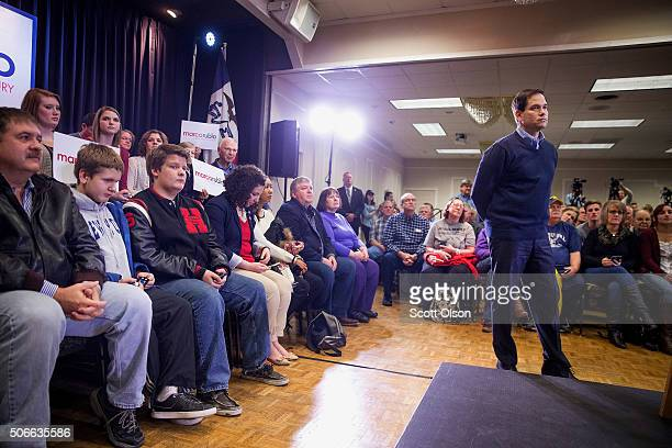 Republican presidential candidate Sen. Marco Rubio is introduced at a town hall meeting on January 24, 2016 in Cedar Rapids, Iowa. Rubio is in Iowa...