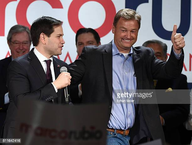 Republican presidential candidate, Sen. Marco Rubio is introduced by U.S. Sen. Dean Heller at a rally at the Texas Station Gambling Hall & Hotel on...
