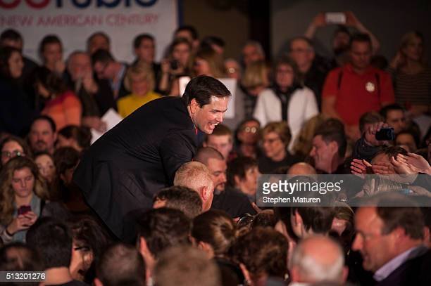Republican presidential candidate Sen Marco Rubio shakes supporters hands after speaking at Courtyards of Andover Event Center in Andover MN Rubio is...