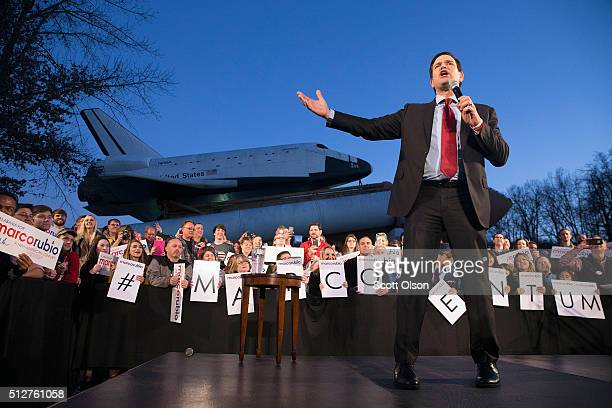 Republican presidential candidate Sen Marco Rubio speaks at a campaign rally at the Space and Rocket Center on February 27 2016 in Huntsville Alabama...