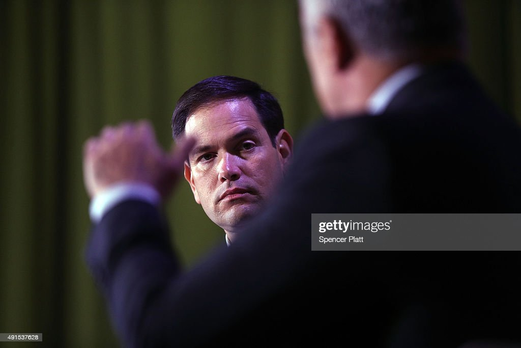 Republican presidential candidate, Sen. Marco Rubio (R-FL) speaks at Civic Hall about the 'sharing economy' on October 6, 2015 in New York City. Rubio, who has been experiencing a slight uptick in the polls after strong debate performances, has a second book out in paperback this Tuesday called American Dream: Restoring Economic Opportunity for Everyone.
