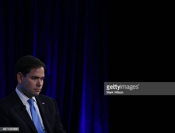Republican Presidential candidate Sen Marco Rubio speaks at the Wall Street Journal CEO Council meeting at the Four Seasons Hotel November 16 2015 in...