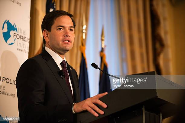 Republican presidential candidate Sen Marco Rubio speaks during a speech hosted by the Foreign Policy Initiative at the 3 West Club on August 14 2015...