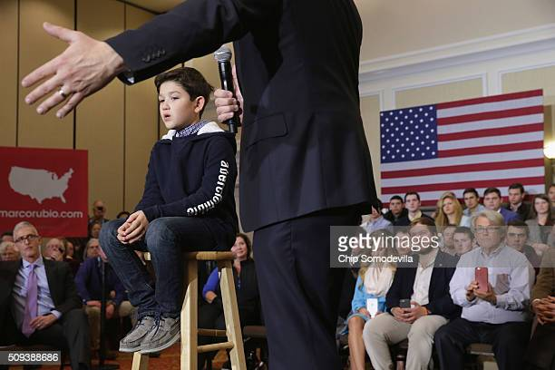 Republican presidential candidate Sen Marco Rubio speaks during a campaign rally with his son Anthony at the Marriott hotel February 10 2016 in...